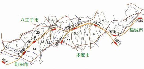 多摩ニュータウン住区位置図